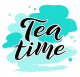 Tea time black lettering text on white textured background with turquoise stains, vector illustration. Tea calligraphy for logo, menu, cafe, invitation and postcards. Tea time vector design. - 178102667