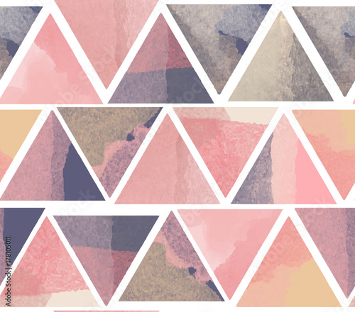 Watercolor pink and purple triangle abstract seamless pattern - 178105011