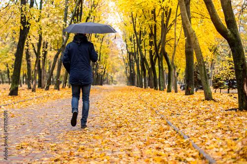 a man with an umbrella walking along the autumn park