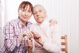Care of senior woman at home sitting on the couch - 178112894