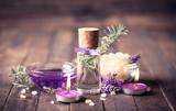 Fototapety Spa set with lavender aromatherapy oil