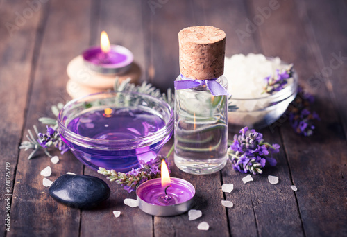 Spa set with lavender aromatherapy oil