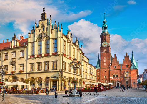 Fototapeta Town hall on market square in Wroclaw Poland picturesque