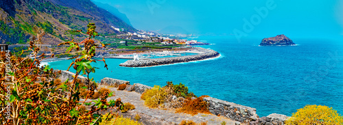 Deurstickers Canarische Eilanden Tenerife island scenery.Ocean and beautiful stone,Garachico beach.Nature scenic seascape in Canary Island.Travel adventures landscape in Spain