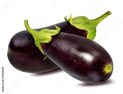 Fresh eggplant isolated on white background  with clipping path Plakat