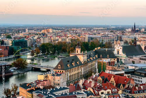 Air view on the old town in Wroclaw in the evening from tower of St. Elizabeth's Church. Poland.
