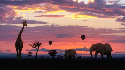 African Safari Colorful Sunrise With Animals