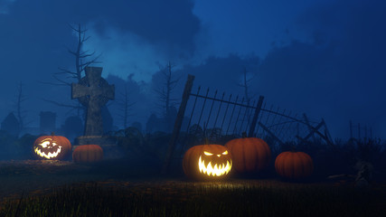 Abandoned scary graveyard with Jack-o-lantern carved halloween pumpkins near old celtic cross tombstone at dark misty night. Fantasy 3D illustration.