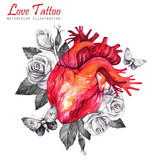Watercolor anatomic heart with sketches of roses, leaves and moths in vintage medieval style. Valentines day illustration. Tattoo art symbol of love. Gothic, tarot poster. Ready for print. - 178153823
