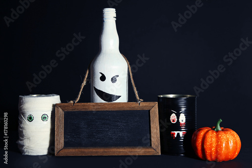 Poster Halloween monsters with pumpkin and wooden frame