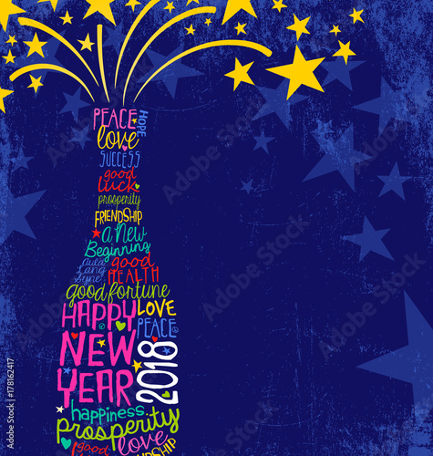 Fototapeta Happy New Year 2018 design. Abstract champagne bottle with inspiring handwritten words, bursting stars. Blue background with space for text.