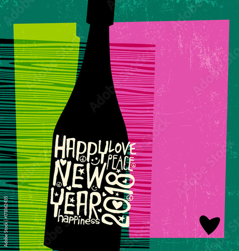 Fotobehang Pop Art Happy New Year 2018 design. Abstract champagne bottle with inspiring handwritten label. Space for text.