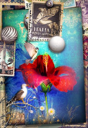 Staande foto Imagination Biglietto di auguri con ibisco e francobolli vintage