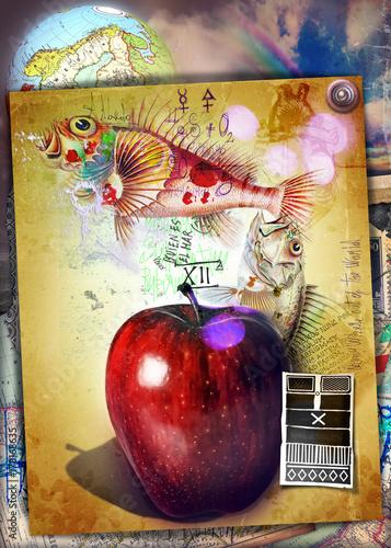 Deurstickers Imagination Mela proibita dell'albero della conoscenza con I king e pesci