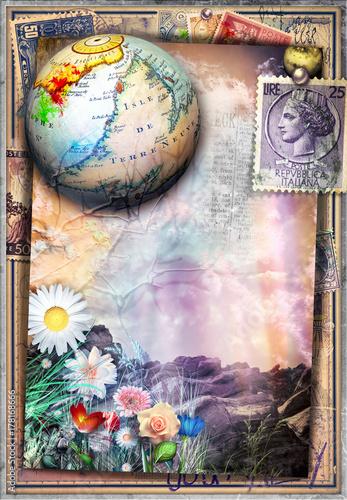 Papiers peints Imagination Paesaggio surreale e fiabesco con francobolli antichi,mappamondo e fiori colorati