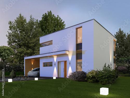 Gamesageddon Haus Kubus 1 In Der Nacht Mit Carport Und Elektroauto