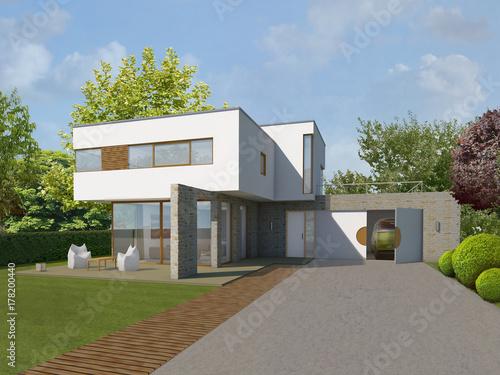 Haus Kubus 3 am Abend mit Stützwänden Naturstein.jpg © entwerfen & planen