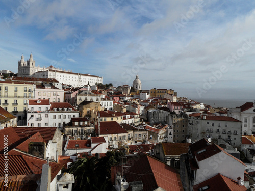 Postcards from Portugal: Lisbon - Alfama view from Elevador Santa Justa Poster