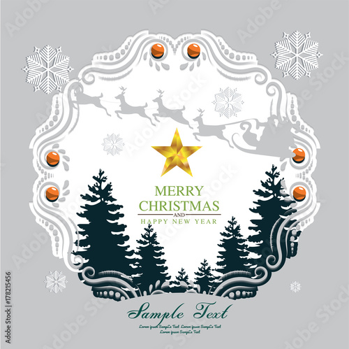 Keuken foto achterwand Vlinders in Grunge paper art Christmas postcard with Winter Forest
