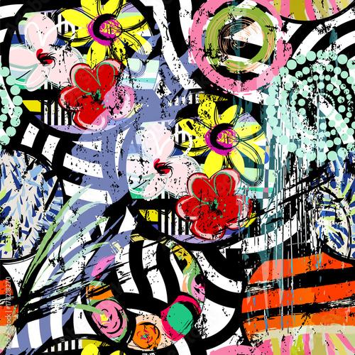 Fotobehang Abstract met Penseelstreken seamless abstract flower pattern background, retro/vintage style, grungy texture