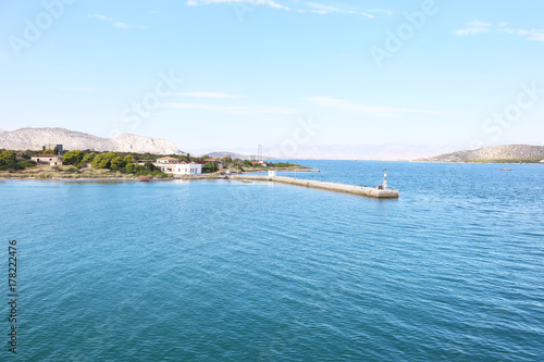 Fotobehang Lichtblauw landscape of Salamis island Saronic gulf Greece