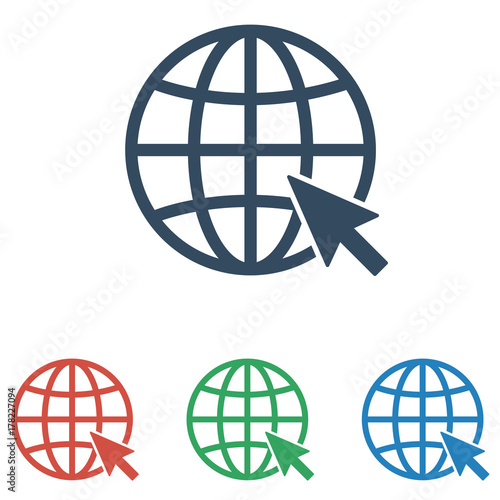Internet icon set. Go to web sign - simple flat design isolated on white background, vector