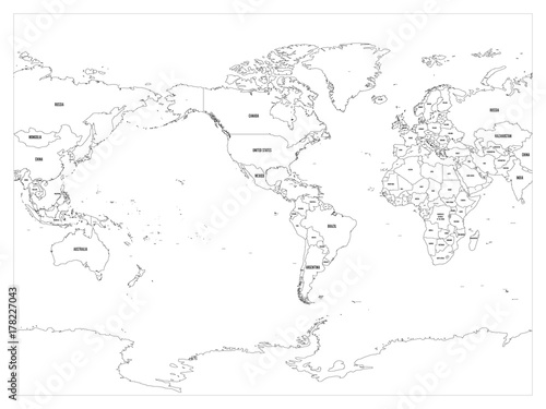 GamesAgeddon - World map country border outline on white background ...