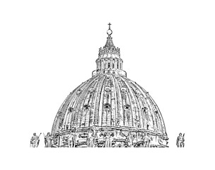 Hand drawn sketch of Vatican City, Rome, St. Peter's Basilica in vector illustration.