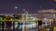 Dublin, Republic of Ireland, night view of The Custom House, Tall Ships, Sean O'Casey Bridge over the River Liffey - 178230497