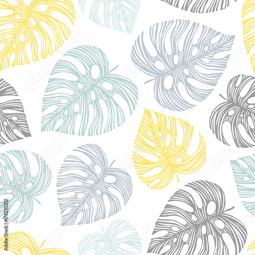 Vector seamless pattern with exotic palm leaves. - 178235212