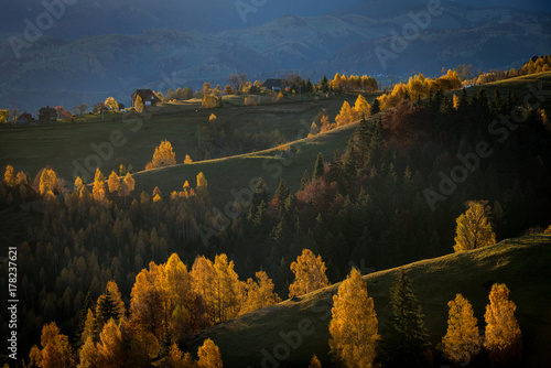 Fotobehang Zwart autumn in beautiful town of pestera romania brasov