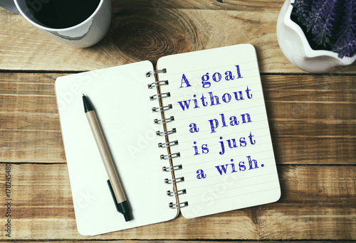 Fototapeta Life inspirational quotes - A goal without a plan is just a wish . Retro style background.