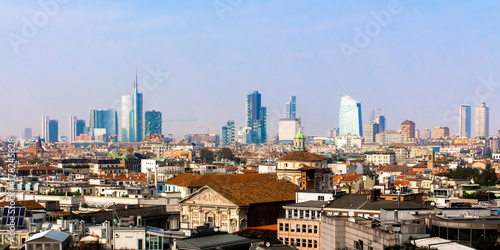 Skyline of Milan, in Italy Poster