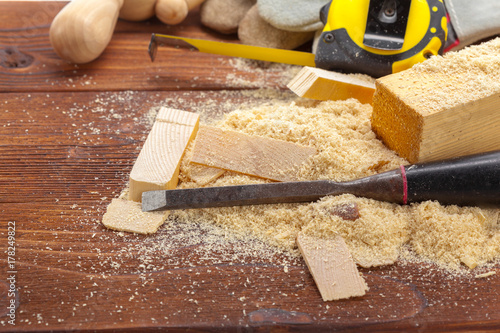 Poster blade of sharp chisels with sawdust