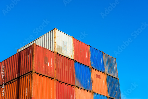 Foto op Plexiglas Rotterdam Stacked Cargo Containers in Harbor of Rotterdam, Netherlands