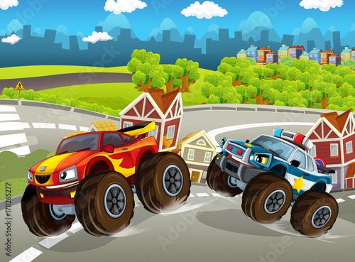escena-de-dibujos-animados-con-vehiculo-urbano-camiones-monstruo-policia-y-coche-deportivo-ilustracion-para-ninos