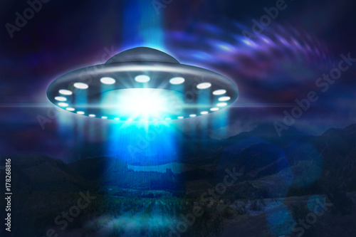 Canvas UFO low key image of UFO hovering over a mountains at night 3d illustration