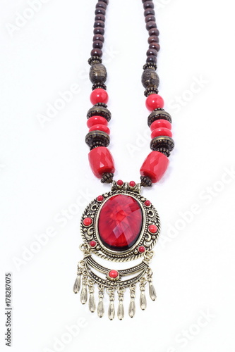 Poster Typical African Tribe Necklace with Red Ruby Precious Stone and Silver