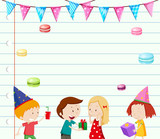 Paper template with kids at party