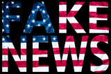 fake news letters on sign with american flag in the background - 178295047