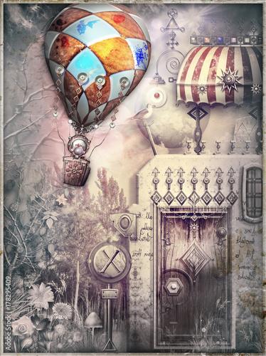 Staande foto Imagination Casa fiabesca e bizzarra in un paesaggio surreale con volo di mongolfiere