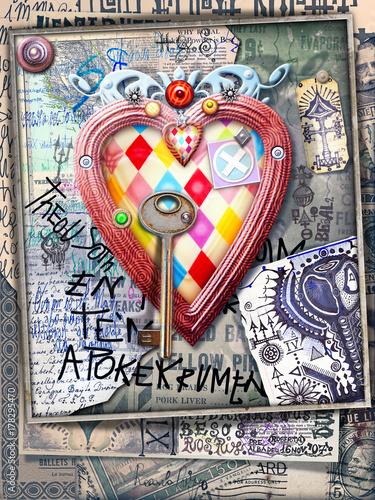 Deurstickers Imagination Vecchi manoscritti e disegni bizzarri con cuore a losanghe e chiave misteriosa