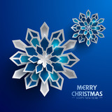 Paper graphic of Christmas snowflakes. Christmas decoration.  - 178295821