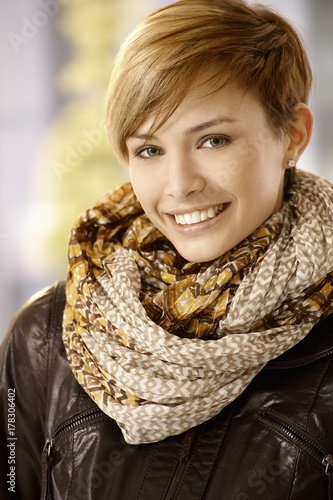 Papiers peints Kiev Attractive woman in leather jacket