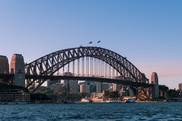 Sydney Harbour Bridge with clear blue sky.