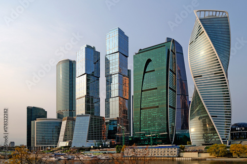 Deurstickers Moskou Moscow City international business center in Moscow.