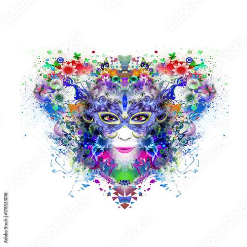 Fotobehang Reznik Абстрактные и мистические женщины лицом красочные иллюстрации