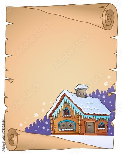 Papiers peints Enfants Winter cottage theme parchment 1