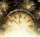 Waiting Midnight - Clock And Fireworks - Happy New Year - 178325649