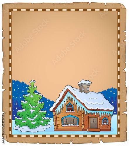 Papiers peints Enfants Winter cottage theme parchment 2